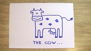 How To Draw A Cow In 60 Seconds? Draw A Cow In 60 Seconds with Funny Socks!