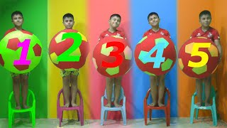 Five little babies jumping on the bad song | Guka plays with giant Balls and learn count 1 to 5