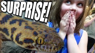 SURPRISING A 7 YEAR OLD WITH HER FIRST PET SNAKE!!! | BRIAN BARCZYK