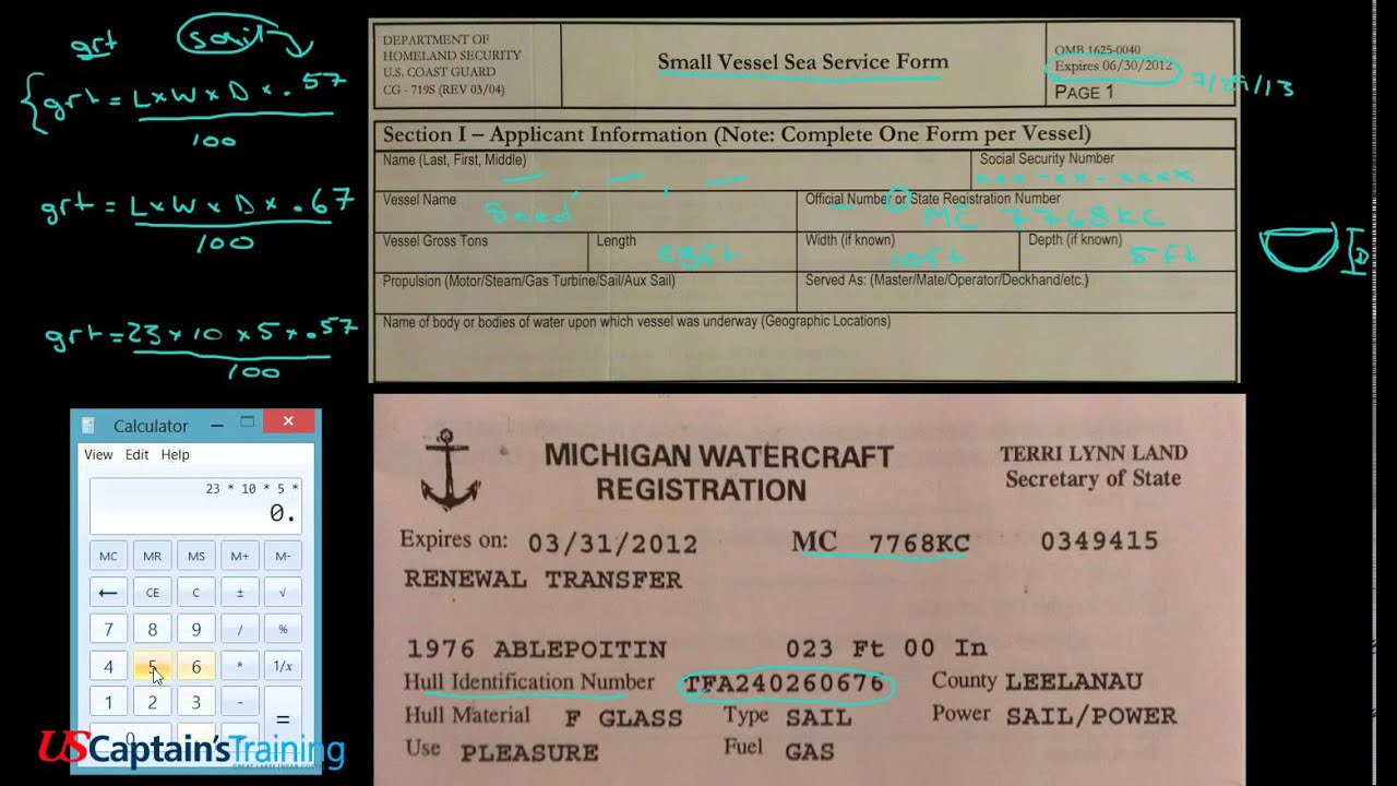 Captain License Small Vessel Sea Service Form Section 1 - YouTube