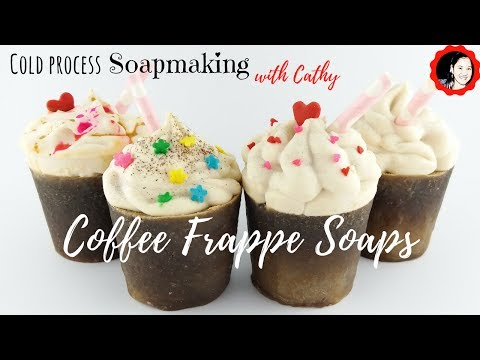 Coffee Frappe Cold Process Soap making and coffee benefits for your skin.  natural colorant on soap