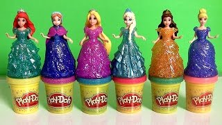 Repeat youtube video Play Doh Sparkle Princess Ariel Elsa Anna Disney Frozen MagiClip Glitter Glider Magic Clip Dolls