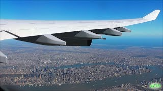 STUNNING NYC VIEWS! Lufthansa A340-300 Scenic Takeoff from Newark Airport!