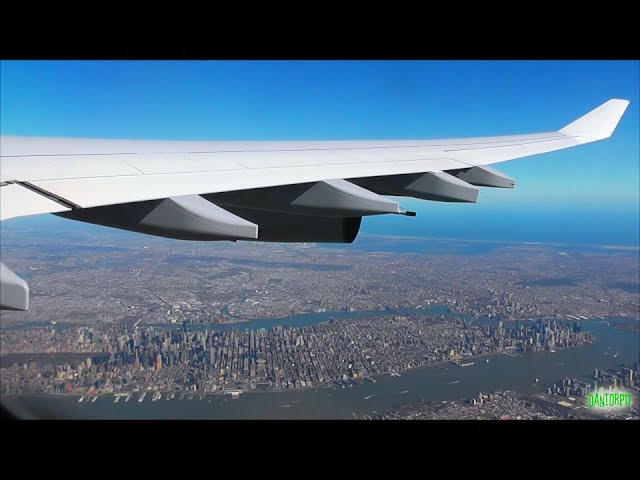Lufthansa A340-300 Scenic Takeoff from Newark 22L w/ Stunning NYC views!