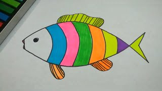 DRAW AND COLOR FISH FOR KIDS AND BEGINNERS l DRAWING EASY