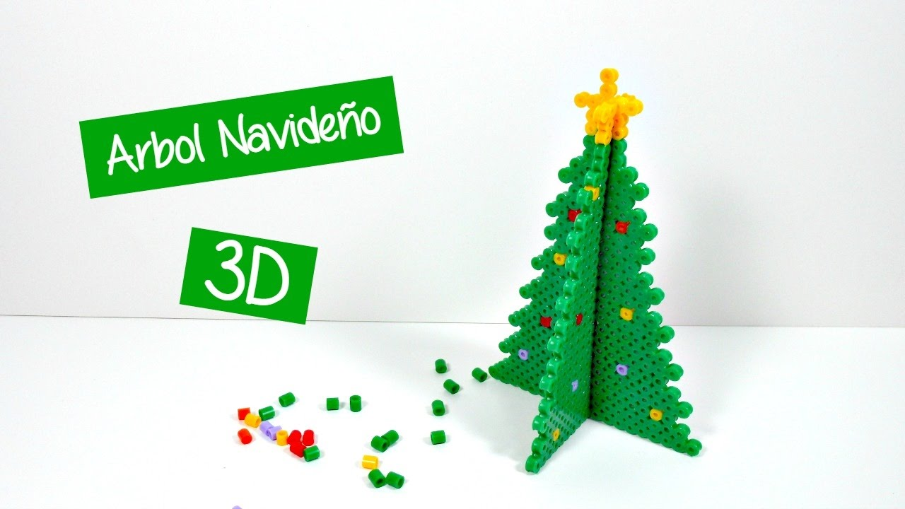 Ideas de Navidad 4 rbol con hamabeads 3D Decoracin YouTube