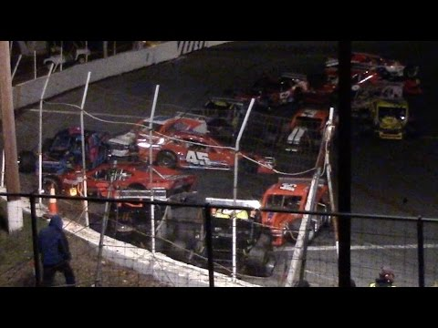 ROC Modified 15 Car Pile Up At Mahoning valley Speedway Octoberfast 10-22-16