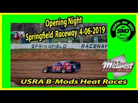 S03 E168 USRA B-Mods Heat Races- Opening Night Springfield Raceway 4-06-2019 #DirtTrackRacing