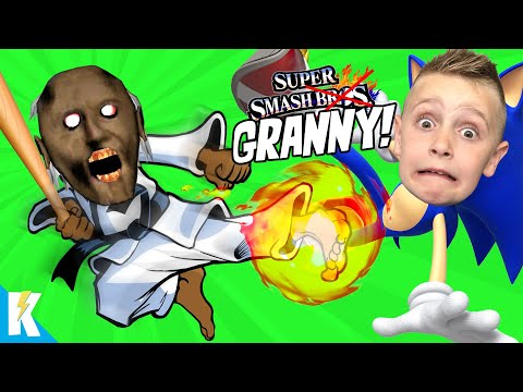 GRANNY In Super Smash Bros! (UNLEASHED On Little Flash Nintendo Mii) KIDCITY GAMING