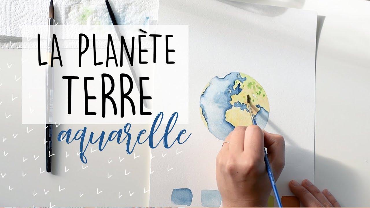 LA PLANETE TERRE - AQUARELLE :: WATERCOLOR EARTH PAINTING