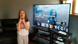 8 year old Jade reacts to Arch Enemy - The Eagle Flies Alone