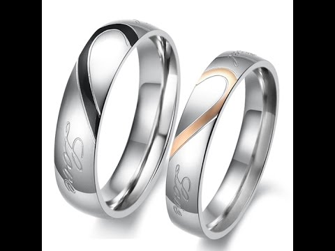 Custom Matching Half Heart Titanium Couples Rings