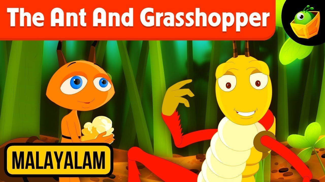The Ant And Grasshopper   Aesop's Fables In Malayalam   Animated Story