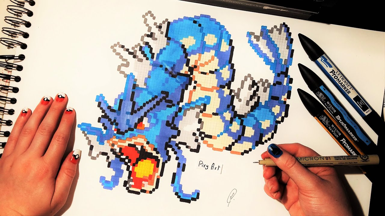 gyarados pokemon drawing pixel art youtube