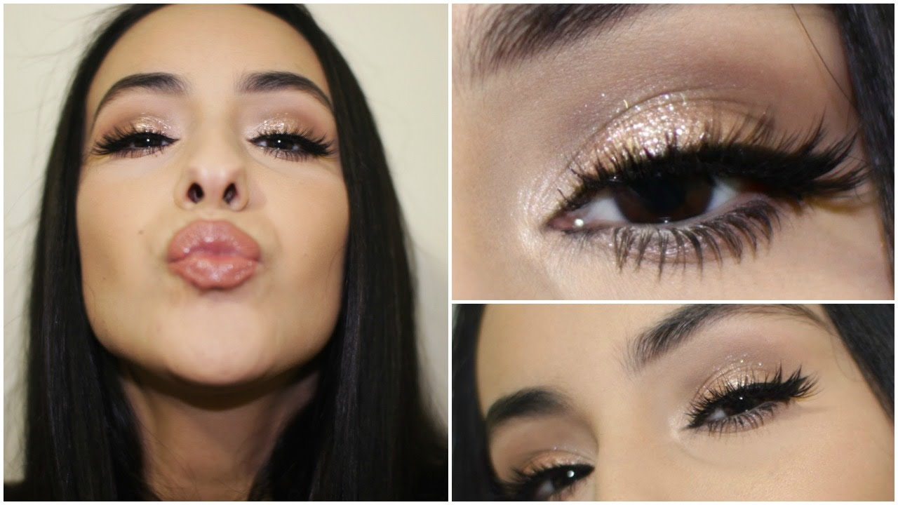 Rose Gold Glittery Eye Makeup Tutorial Full Face Youtube