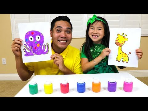 Learn Colors & Fruit Names with Jannie Fun Fruits & Paint Kids Toys