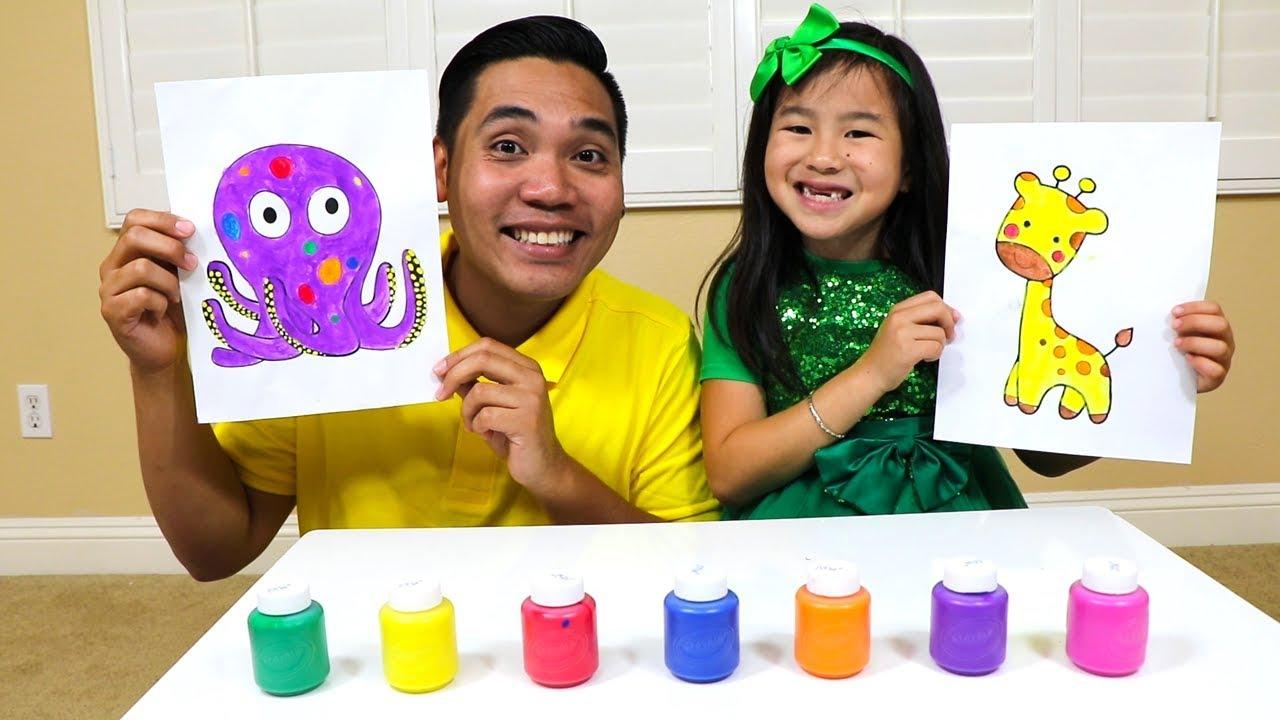 Learn Colors Fruit Names With Jannie Fun Fruits Paint