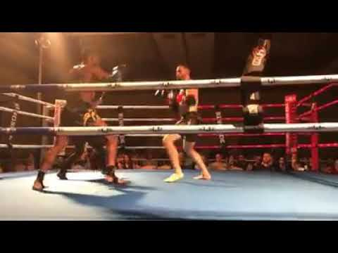 Ross Levine wins by TKO in Muay Thai Fight