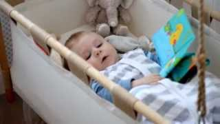 Baby Having Fun In Hanging Bassinet