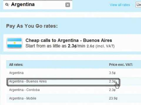 Compare Calling Card Rates to Argentina