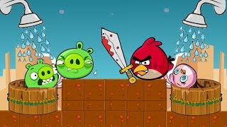 Angry Birds Take A Shower - RED KICK OUT PIGGIES AND TAKE SHOWER FOR STELLA!!