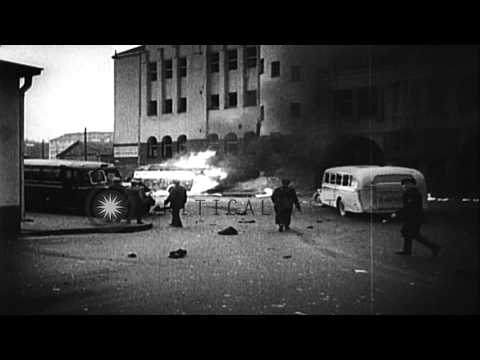 Helsinki being bombed by the Soviet planes during World War II. HD Stock Footage