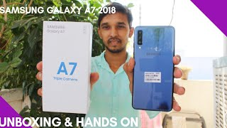 Samsunga A7 2018 Triple camera Unboxing & Overview in Hindi