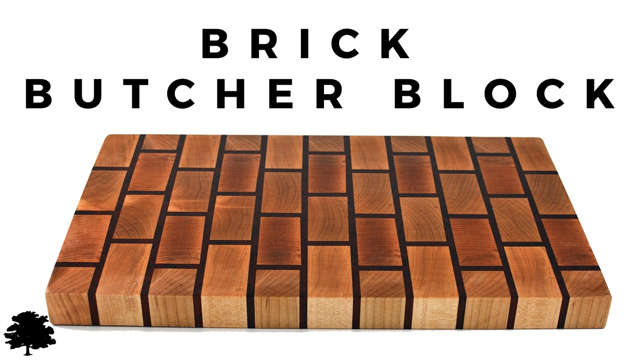 brick butchers block cutting board maple and padauk