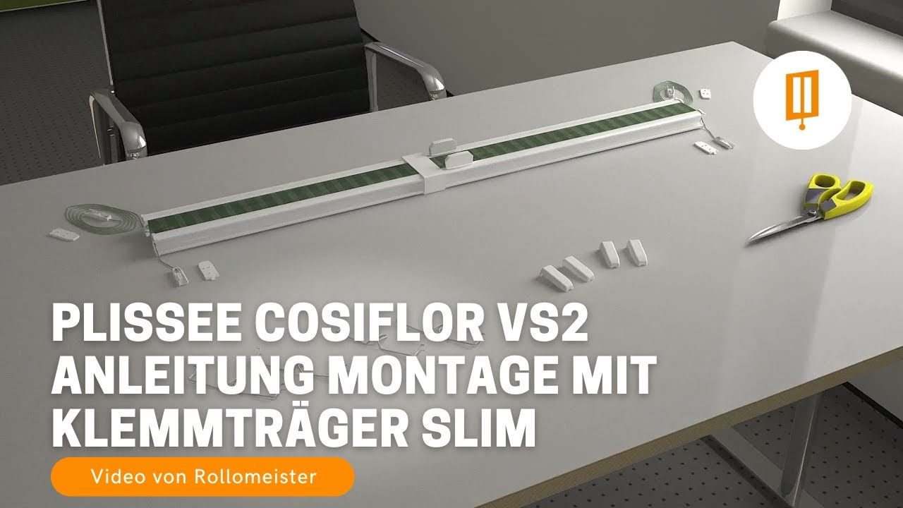 plissee cosiflor vs2 anleitung montage mit klemmtraeger slim video von rollomeister youtube. Black Bedroom Furniture Sets. Home Design Ideas