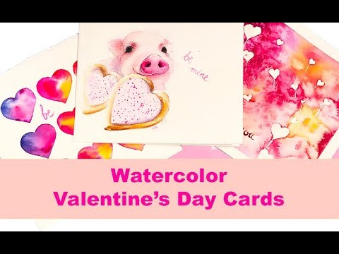 Watercolor VALENTINE'S DAY CARDS Painting Tutorials