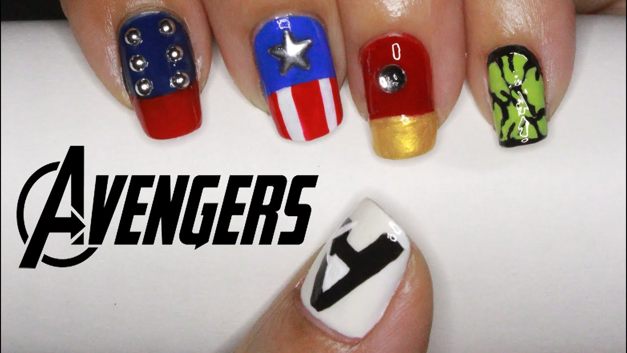 The Avengers Nail Art (Thor, Captain America, Iron Man, Hulk ...