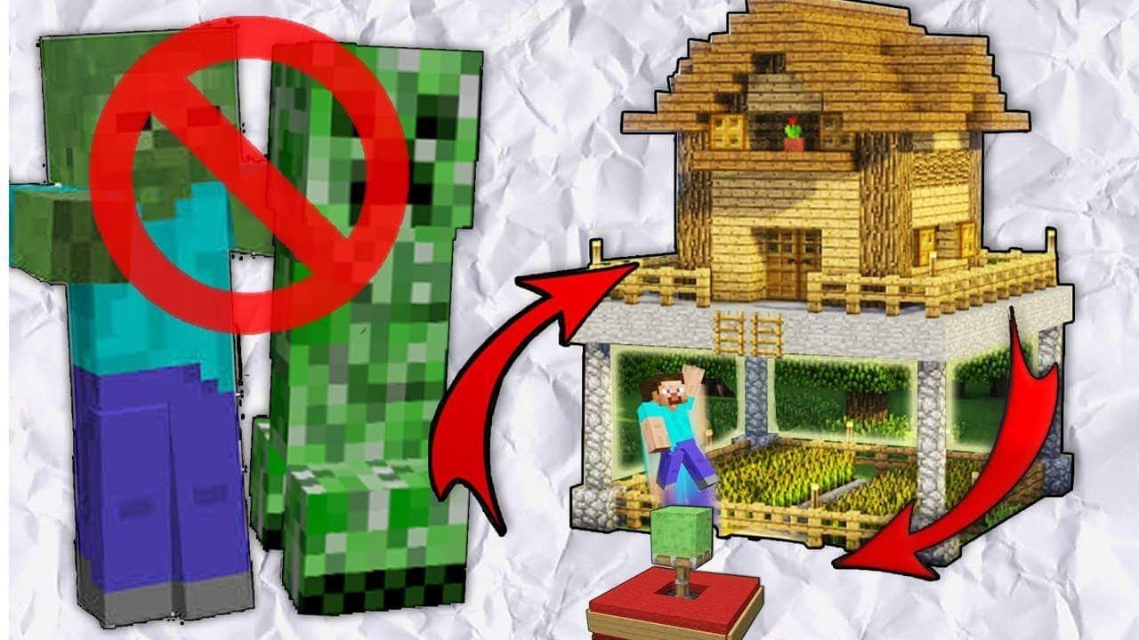 Minecraft How To Build A Mob Proof House Creeper Proof House Tutorial Youtube