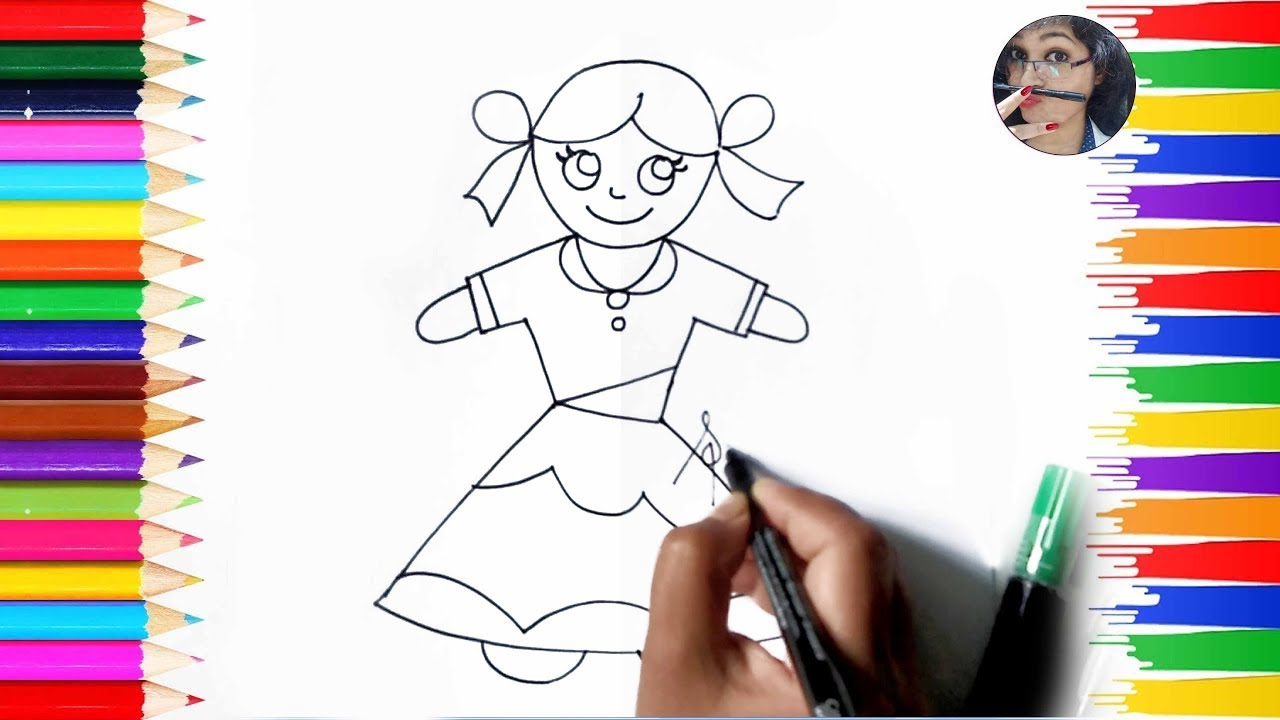 How To Draw A Simple Doll For Kids How To Draw Doll Kids Drawing Tutorial Easy S Youtube