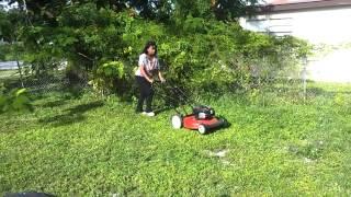 Lisa Mack Real women cutting grass