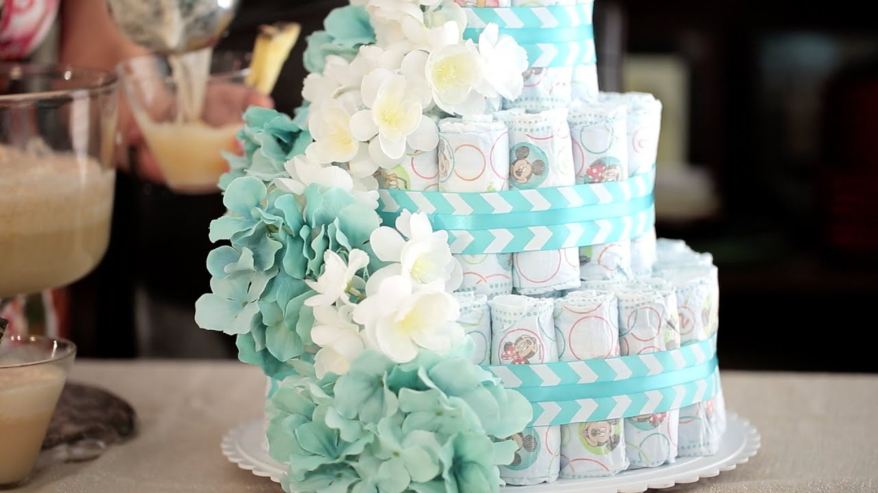 How to Make a Diaper Cake and Festive Punch for a Baby Shower