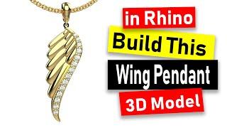 Wing Pendant 3D Modeling in Rh…