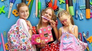 Саша и Богдана помогают Минни Маус собраться в школу! СУПЕР - ЯРКАЯ канцелярия для девочек!