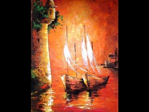 Como pintar con esp tula cuadro atardecer en cartagena for Pinturas acrilicas para cuadros