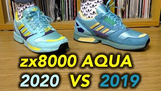 Adidas ZX 8000 2020 aqua OG vs 2019 consortium ON FEET!! comparison review
