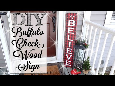 DIY Buffalo Check Christmas Wood Sign