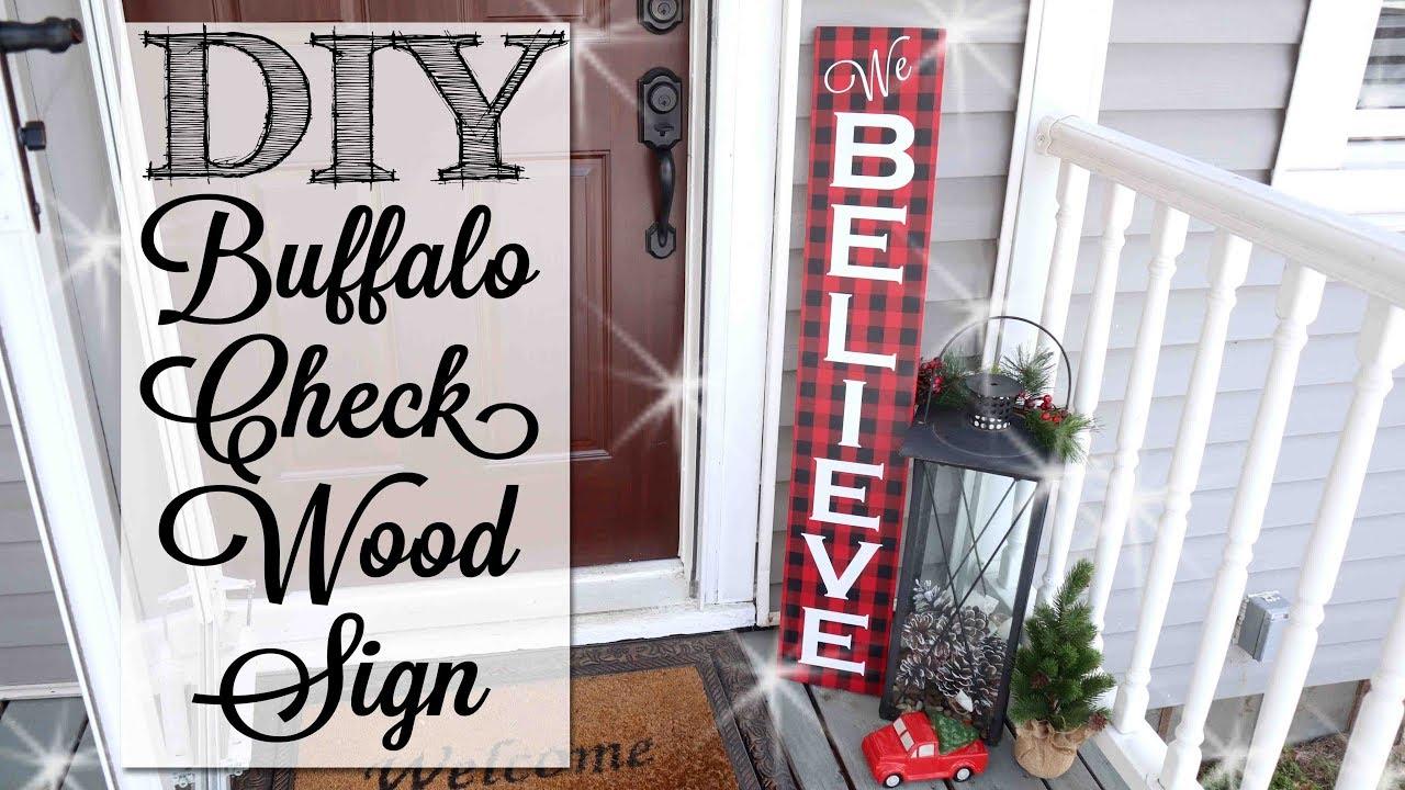 Diy Buffalo Check Christmas Wood Sign