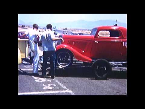 1959 RIVERSIDE RACEWAY ALTERED COUPES (rasner reath fiat and jim miles 34) ON TRAILERS