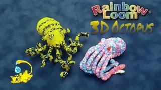Rainbow Loom 3D Octopus Head (осьминог, pulpo, poulpe, たこ)