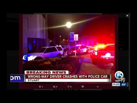 Wrong-way driver in custody after crashing with police car in Stuart