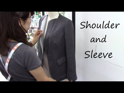 袖付け ジャケット How to attach a sleeve (shoulder pad, head wadding) Jacket tutorial