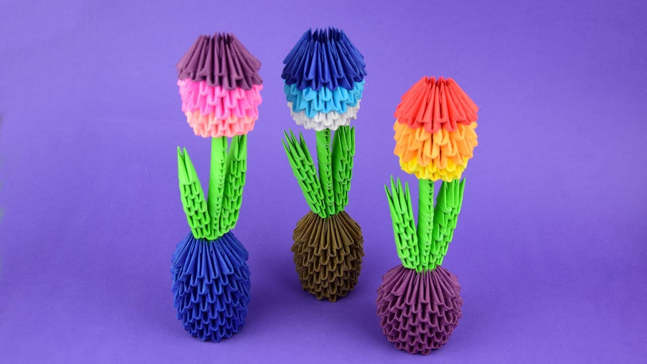 how to make a paper flower in a pot 3d origami tutorial