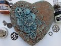 rusty heart mixed media canvas with rust and patina paste