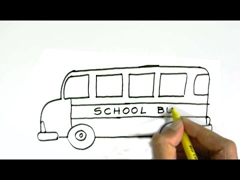 How To Draw A School Bus In Easy Steps For Children Kids Beginners