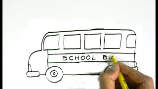 How to draw a school bus in  easy steps for children, kids, beginners
