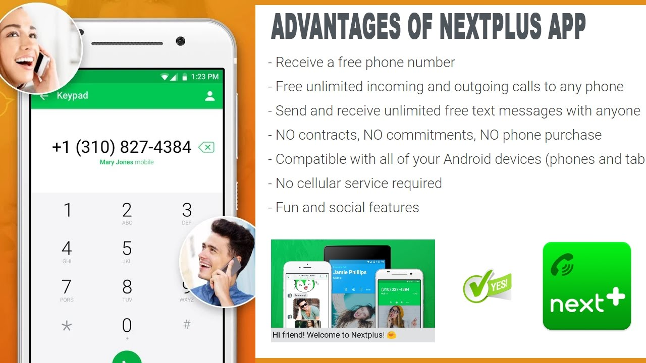 Nextplus Free unlimited SMS Text + Calls ( free US phone number
